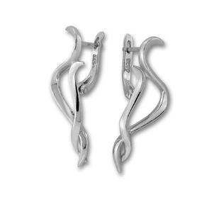 Сребърни обеци без камъни - 133506
