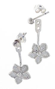 Сребърни обеци без камъни - 133304