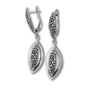 Сребърни обеци без камъни 132955