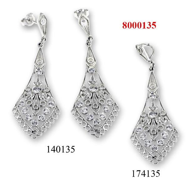 Сребърни бижута - комплект 8000135