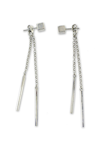 Сребърни обеци без камъни - 110115