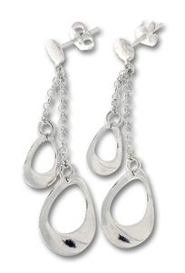 Сребърни обеци без камъни - 133195