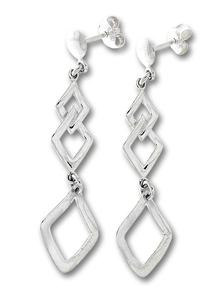 Сребърни обеци без камъни - 133194