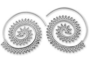 Сребърни обеци без камъни - 131190