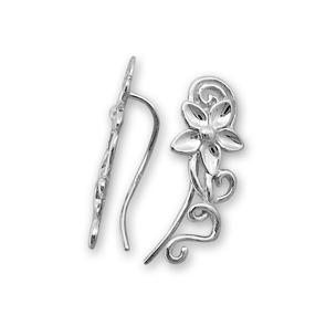 Сребърни обеци без камъни - 133294