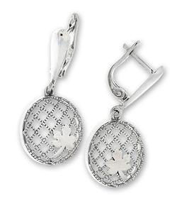 Сребърни обеци без камъни - 128078
