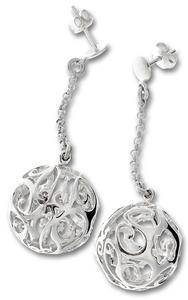 Сребърни обеци без камъни - 131642