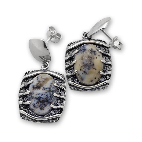 Обеци уникати от сребро и полускъпоценни камъни 8901150