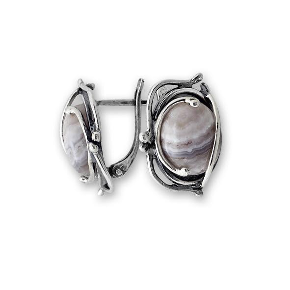 Обеци уникати от сребро и полускъпоценни камъни 8901152