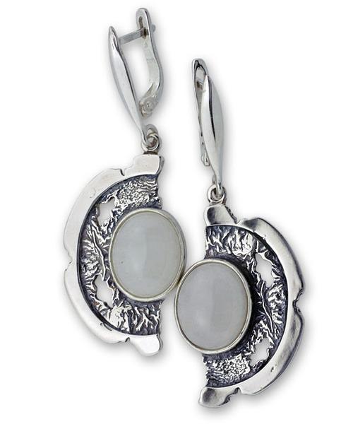 Обеци уникати от сребро и полускъпоценни камъни 8901015