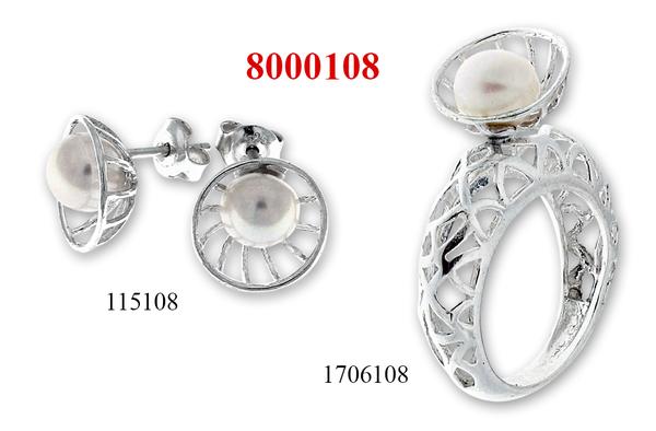Сребърни бижута - комплект 8000108