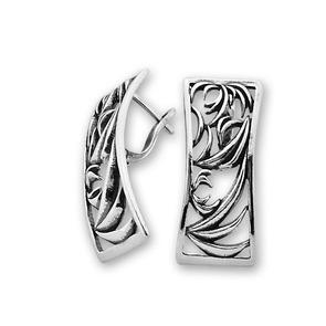 Сребърни обици без камъни - 136008