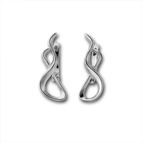 Сребърни обеци без камъни - 133237