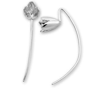 Сребърни обеци без камъни - 133614