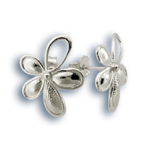 Сребърни обеци без камъни - 133780