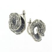 Сребърни обеци без камъни 136093