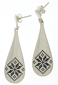 Сребърни обеци без камъни - 131650