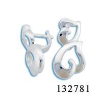 Сребърни обеци без камъни - 132781