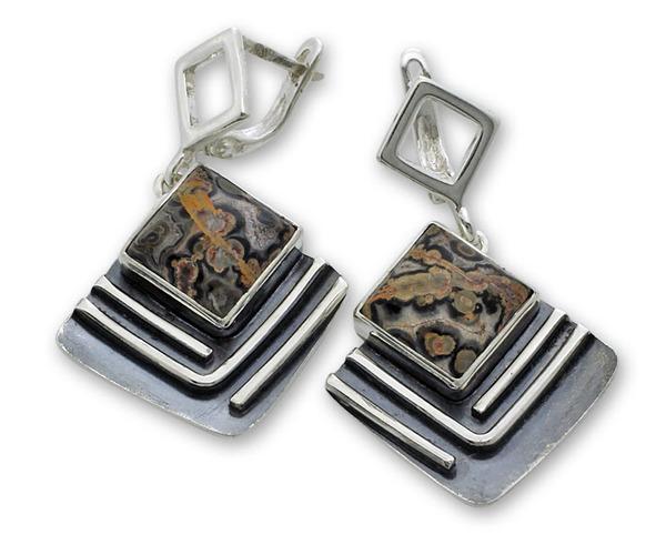 Обеци уникати от сребро и полускъпоценни камъни 8981238
