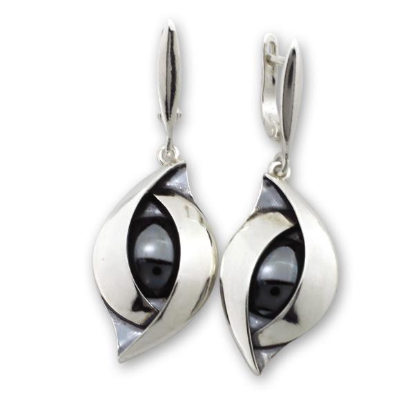 Обеци уникати от сребро и полускъпоценни камъни 8981180