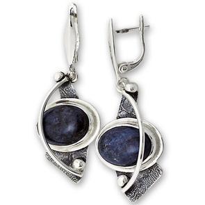 Обеци уникати от сребро и полускъпоценни камъни 8981199