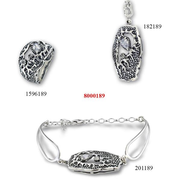 Сребърни бижута - комплект 8001189