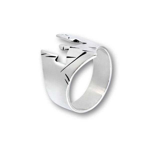 Сребърен пръстен без камък 1536182