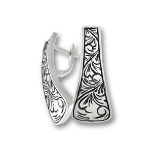 Сребърни обеци без камъни - 131170